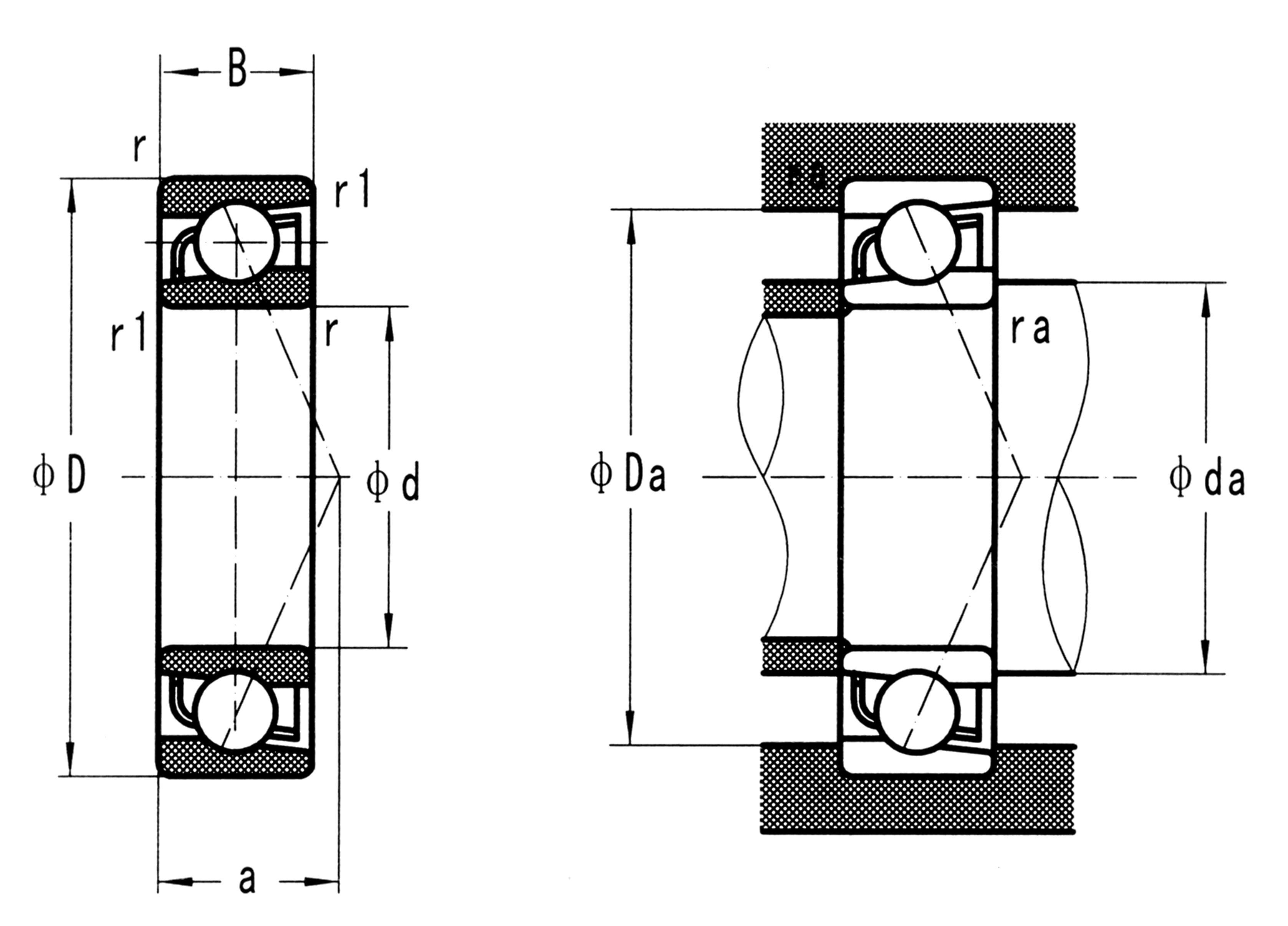 Aço inoxidável de contato angular rolamentos de esferas